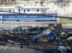Anti-plastic barrier on Rome's river Tiber