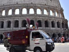 Rome: British tourists crash electric scooter into bin truck at Colosseum