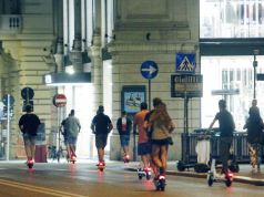 Rome's electric scooter races at night
