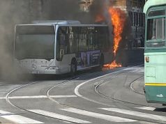 Rome bus bursts into flames near ministry of defence