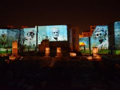 Ancient Rome light shows by night at the Forum of Augustus