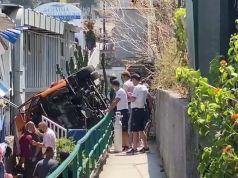 Capri: Bus plunges off road and crashes onto beach