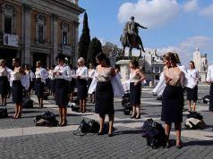 Alitalia flight attendants strip in Rome protest against ITA Airways