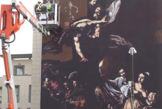 Caravaggio street art at Rome hospital