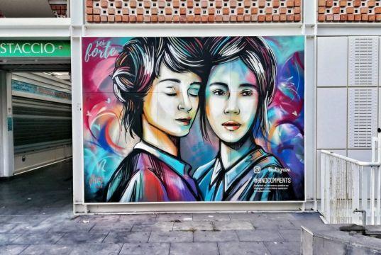 Alice Pasquini mural at Rome's Testaccio market