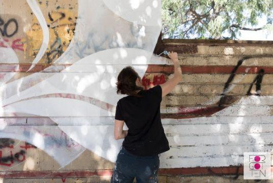 Lucy McLauchlan mural at Rome's Campo Testaccio
