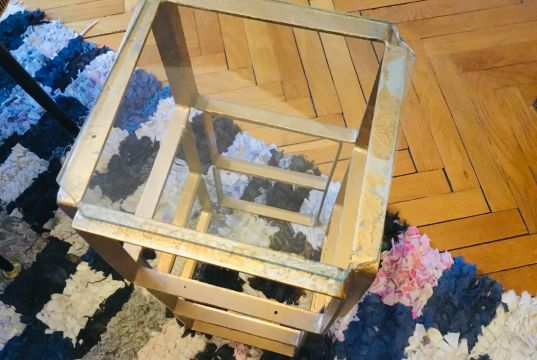 Set of metal and glass side tables