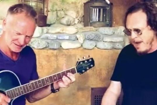 Sting and Zucchero sing Fields of Gold in Italian
