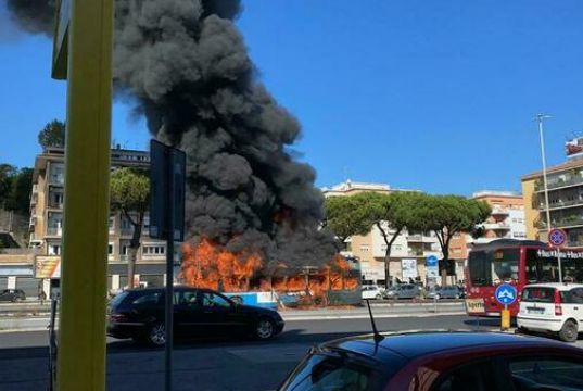 Rome bus bursts into flames near Vatican