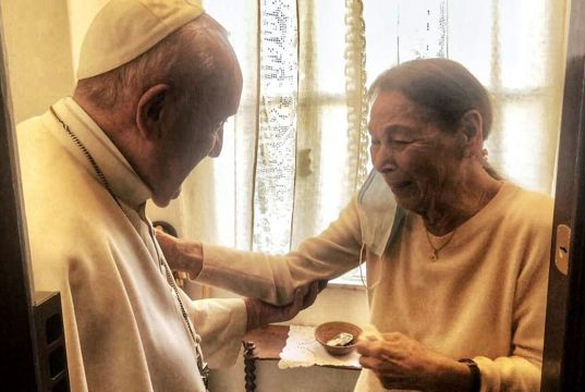 Pope Francis visits Holocaust survivor Edith Bruck in Rome