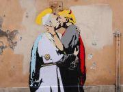 Rome mural of Pope Francis kissing devilish Trump
