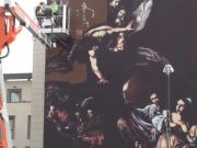Caravaggio street art at Rome hospital