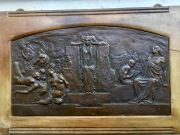Bronze plaque with lamenting figures in relief sculpted by LEONARDO (Turin, 1859-1933)