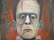 Frankenstein master painting oil on canvas portrait, Italian art