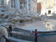 Works leave Rome's Trevi Fountain without water