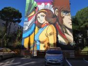 Giant mural tribute to Jeeg Robot in Rome suburb