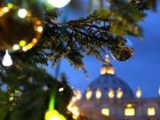 Vatican switches on Christmas tree lights in St Peter's Square on 7 December