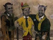 Rome mural depicts heads of Italian government as Pinocchio characters