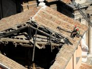 Roofless Rome church reopens for Father's Day