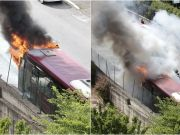 Rome city bus bursts into flames