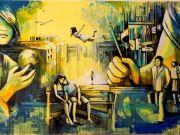 Alice Pasquini street art at Farnesina in Rome