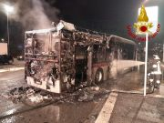Rome city bus destroyed by fire