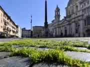 Rome: Grass grows in deserted Piazza Navona