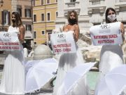 Brides protest in Rome because of covid-19 restrictions