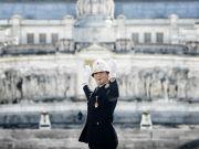 Rome welcomes first woman traffic cop at landmark podium in Piazza Venezia