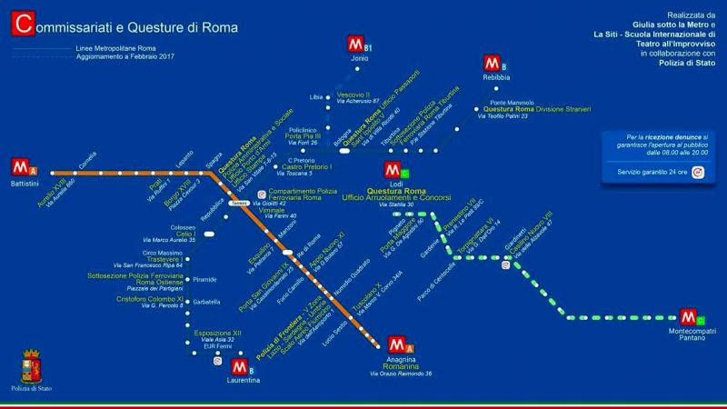 Rome Italy Subway Map.Metro Map Of Rome S Police Stations Wanted In Rome