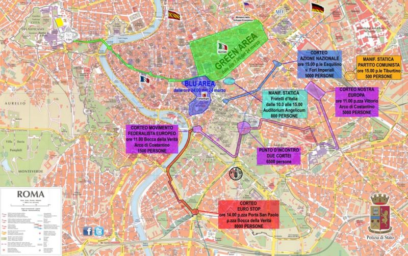 Rome Security Plan For EU Summit Wanted In Rome - Eu rome map
