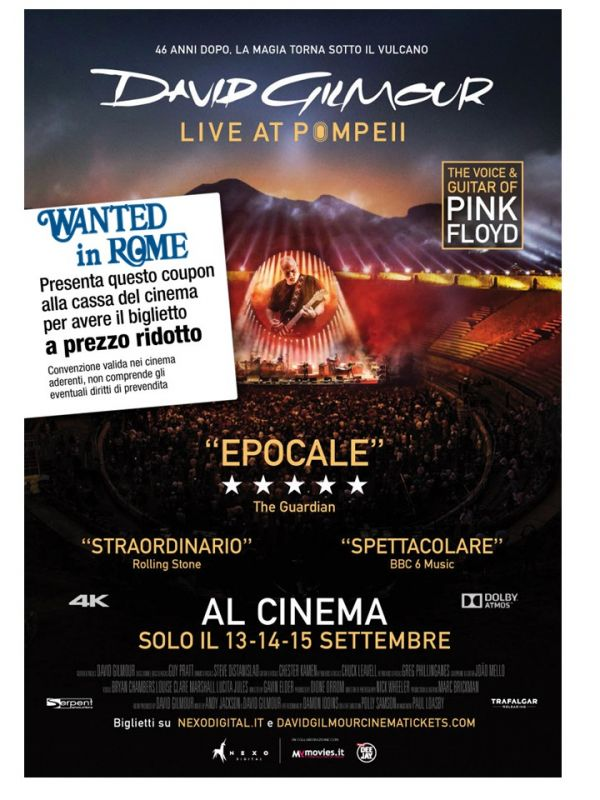 David Gilmour - Live at Pompei 2 euro discount on ticket for WIR Card