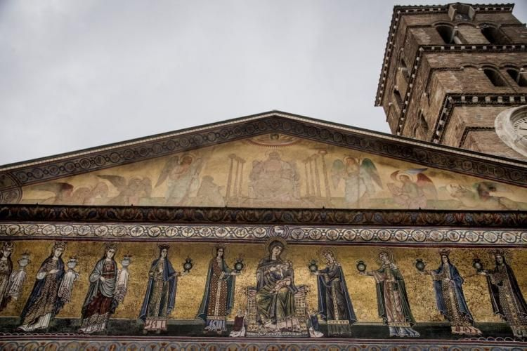 The Façade Of The Basilica Di S. Maria In Trastevere, One Of Romeu0027s Oldest  Churches, Has Returned To Its Original Splendour Following A Restoration By  The ...